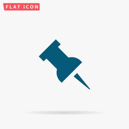 Pin Icon Vector. Flat simple Blue pictogram on white background. Illustration symbol with shadow