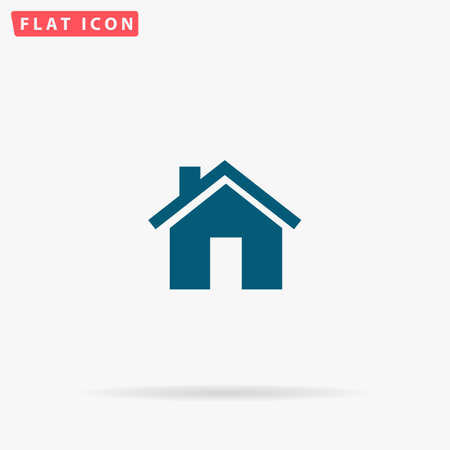 abode: Home Icon Vector. Flat simple Blue pictogram on white background. Illustration symbol with shadow