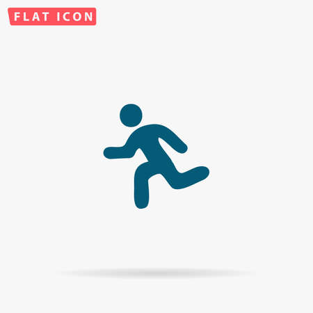 Run Icon Vector. Flat simple Blue pictogram on white background. Illustration symbol with shadow