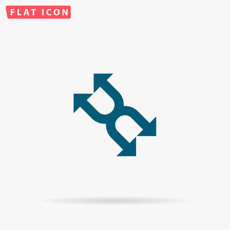 Arrows Icon Vector. Flat simple Blue pictogram on white background. Illustration symbol with shadow