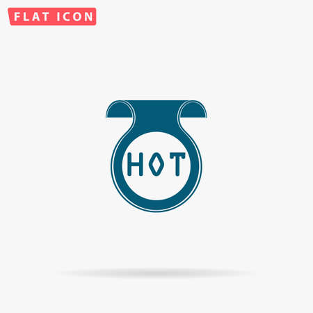 oh: Hot Icon Vector. Flat simple Blue pictogram on white background. Illustration symbol with shadow Illustration