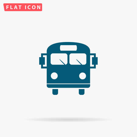 schoolbus: Bus Icon Vector. Flat simple Blue pictogram on white background. Illustration symbol with shadow