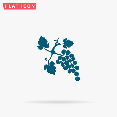 Grapes Icon Vector. Flat simple Blue pictogram on white background. Illustration symbol with shadow Illustration