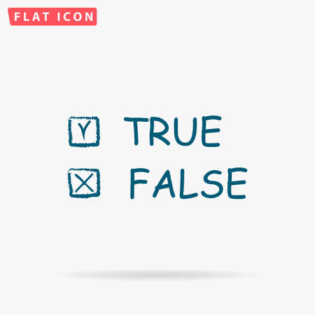 truthful: True False Icon Vector. Flat simple Blue pictogram on white background. Illustration symbol with shadow Illustration