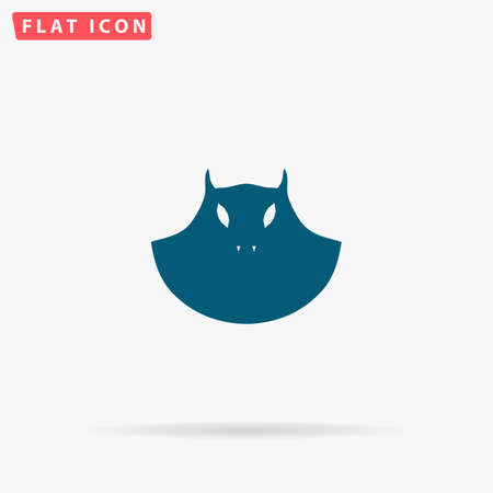 Evil Icon Vector. Flat simple Blue pictogram on white background. Illustration symbol with shadow Illustration