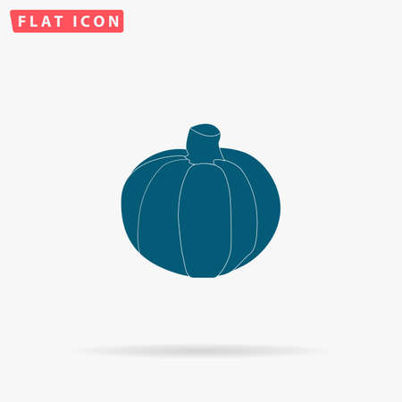 Pumpkin Icon Vector. Flat simple Blue pictogram on white background. Illustration symbol with shadow Illustration