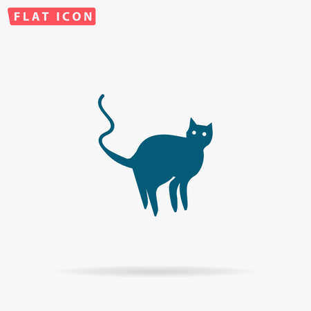 Cat Icon Vector. Flat simple Blue pictogram on white background. Illustration symbol with shadow