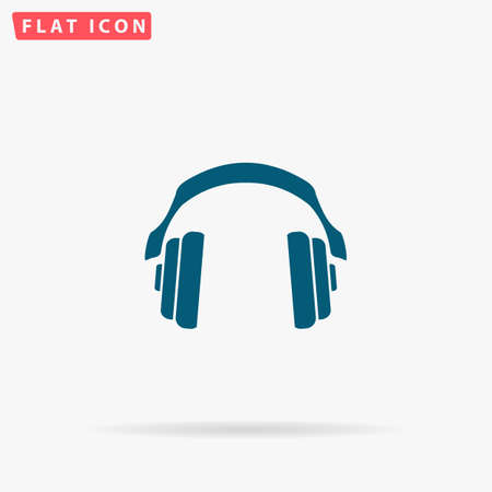 intonation: Earphones Icon Vector. Flat simple Blue pictogram on white background. Illustration symbol with shadow Illustration
