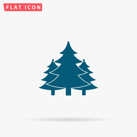 Forest Icon Vector. Flat simple Blue pictogram on white background. Illustration symbol with shadow