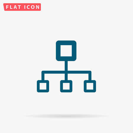 Computer network Icon Vector. Flat simple Blue pictogram on white background. Illustration symbol with shadow
