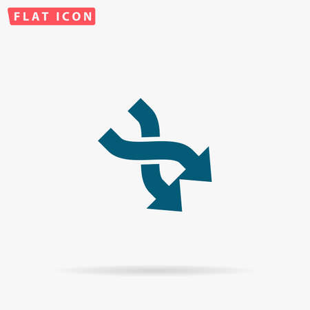 opposing: 2 side arrow Icon Vector. Flat simple Blue pictogram on white background. Illustration symbol with shadow