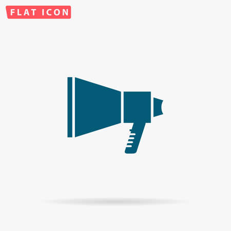 amplified: Speaker Icon Vector. Flat simple Blue pictogram on white background. Illustration symbol with shadow