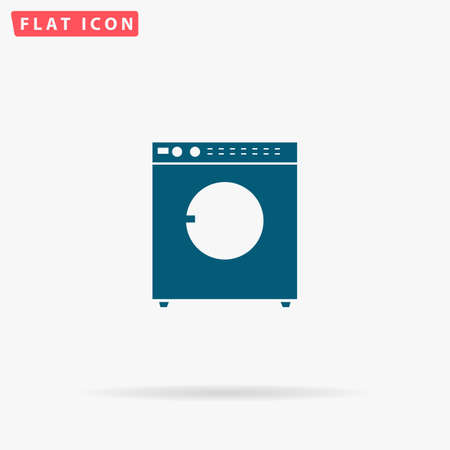 fully automatic: Laundry Icon Vector. Flat simple Blue pictogram on white background. Illustration symbol with shadow