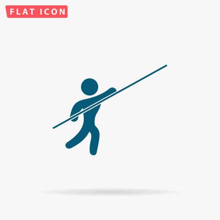 Atleet Icon Vector. Vlakke eenvoudig Blauw pictogram op witte achtergrond. Illustratie symbool met schaduw