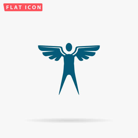 icarus: Winged Icon Vector. Flat simple Blue pictogram on white background. Illustration symbol with shadow