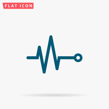 Pulse Icon Vector. Flat simple Blue pictogram on white background. Illustration symbol with shadow