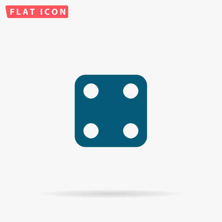 backgammon: Dice Icon Vector. Flat simple Blue pictogram on white background. Illustration symbol with shadow