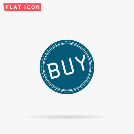 Buy Icon Vector. Flat simple Blue pictogram on white background. Illustration symbol with shadow Illustration