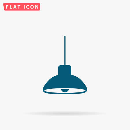 Lamp Icon Vector. Flat simple Blue pictogram on white background. Illustration symbol with shadow Illustration