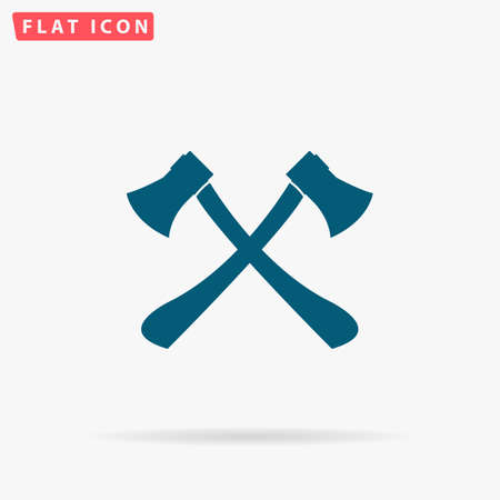 logging: Axes crossed Icon Vector. Flat simple Blue pictogram on white background. Illustration symbol with shadow