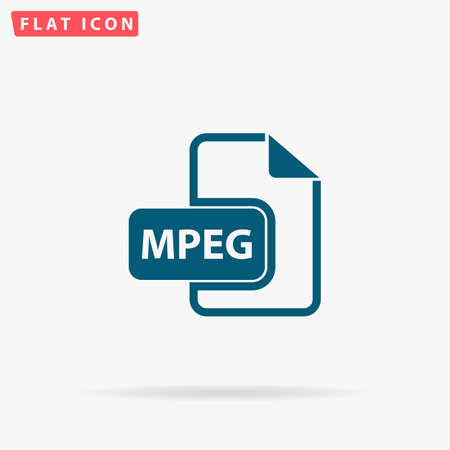 mpg: MPEG Icon Vector. Flat simple Blue pictogram on white background. Illustration symbol with shadow Illustration