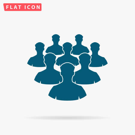 Crowd Icon Vector. Flat simple Blue pictogram on white background. Illustration symbol with shadow