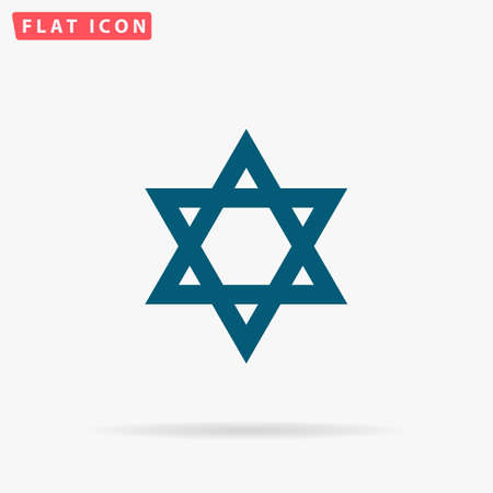 hanuka: Star of David Icon Vector. Flat simple Blue pictogram on white background. Illustration symbol with shadow