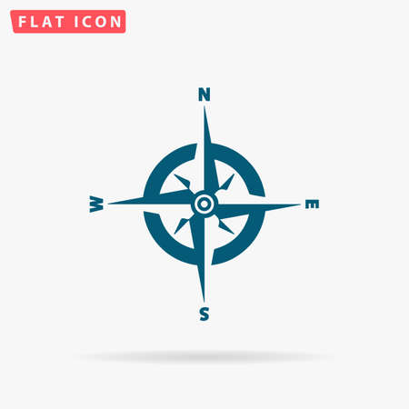 Compass Icon Vector. Flat simple Blue pictogram on white background. Illustration symbol with shadow