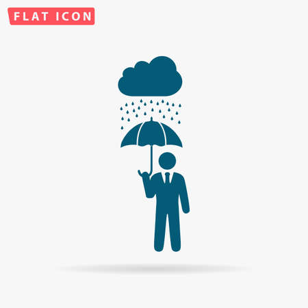 Protect Icon Vector. Flat simple Blue pictogram on white background. Illustration symbol with shadow Vetores