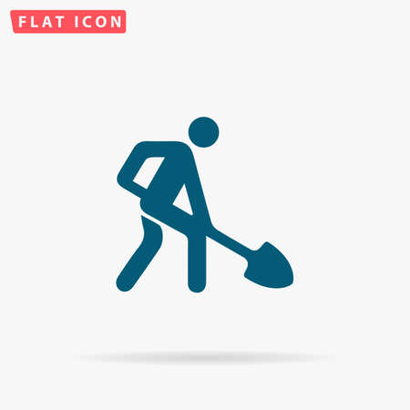 labourer: Building works Icon Vector. Flat simple Blue pictogram on white background. Illustration symbol with shadow