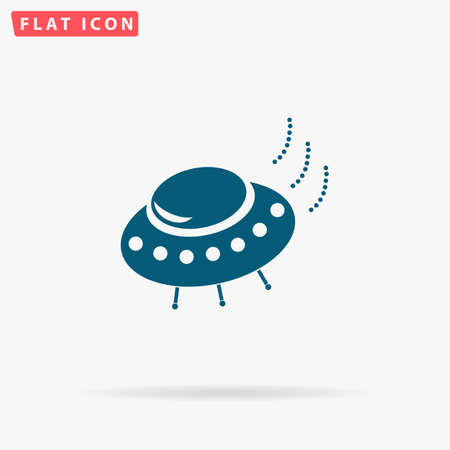 UFO Icon Vector. Flat simple Blue pictogram on white background. Illustration symbol with shadow