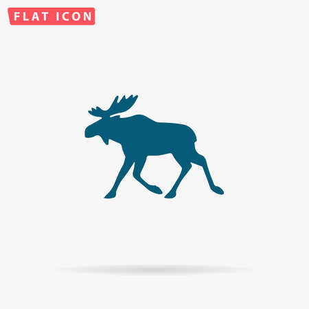 Elk Icon Vector. Flat simple Blue pictogram on white background. Illustration symbol with shadow