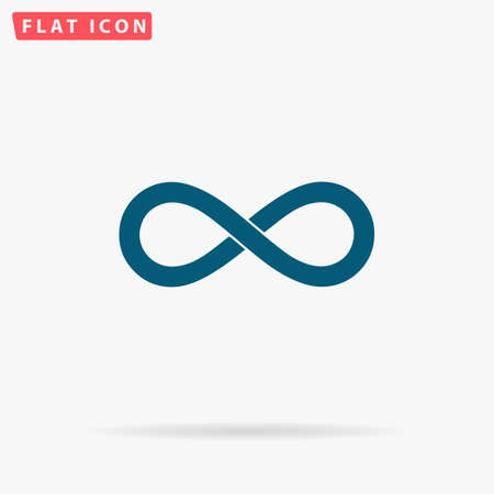 Infinity Icon Vector. Flat simple Blue pictogram on white background. Illustration symbol with shadow