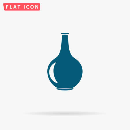 decorative urn: Pitcher Icon Vector. Flat simple Blue pictogram on white background. Illustration symbol with shadow