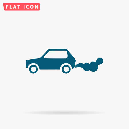Car smoke Icon Vector. Flat simple Blue pictogram on white background. Illustration symbol with shadow
