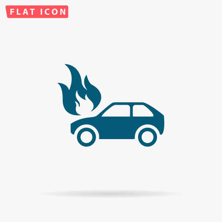 Car fire Icon Vector. Flat simple Blue pictogram on white background. Illustration symbol with shadow