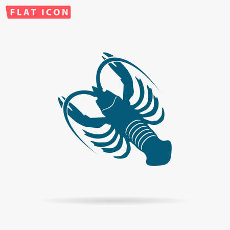 Crayfish Icon Vector. Flat simple Blue pictogram on white background. Illustration symbol with shadow
