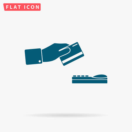 checking account: Payment credit card Icon Vector. Flat simple Blue pictogram on white background. Illustration symbol with shadow