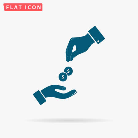 Dollar hand Icon Vector. Flat simple Blue pictogram on white background. Illustration symbol with shadow