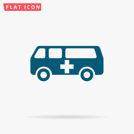 Ambulance Icon Vector. Flat simple Blue pictogram on white background. Illustration symbol with shadow