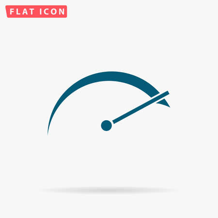 Speedometer Icon Vector. Flat simple Blue pictogram on white background. Illustration symbol with shadow