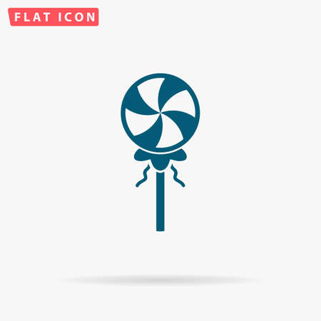 sweetstuff: Candy Icon Vector. Flat simple Blue pictogram on white background. Illustration symbol with shadow