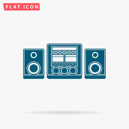 Music center Icon Vector. Flat simple Blue pictogram on white background. Illustration symbol with shadow