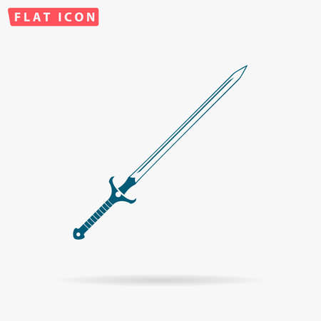 roman soldier: Claymore Icon Vector. Flat simple Blue pictogram on white background. Illustration symbol with shadow