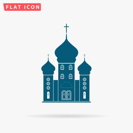 born again: Church Icon Vector. Flat simple Blue pictogram on white background. Illustration symbol with shadow