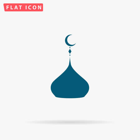 Islam dome Icon Vector. Flat simple Blue pictogram on white background. Illustration symbol with shadow