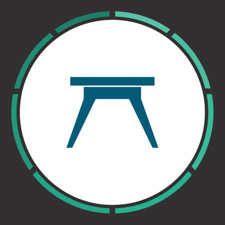 soiree: Camping table Icon Vector. Flat simple Blue pictogram in a circle. Illustration symbol