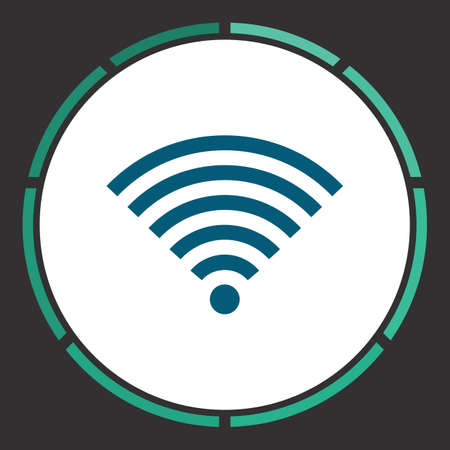 Wifi Icon Vector. Flat simple Blue pictogram in a circle. Illustration symbol