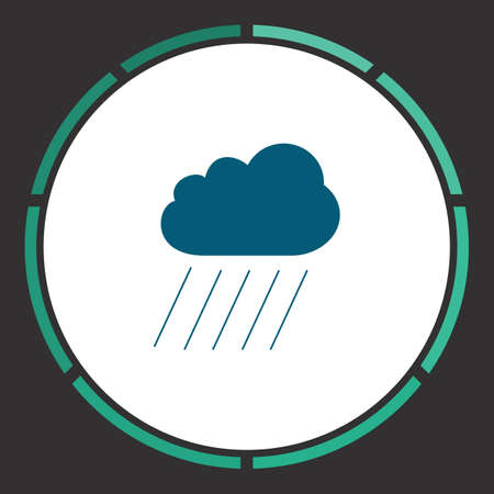 Cloud Icon Vector. Flat simple Blue pictogram in a circle. Illustration symbol