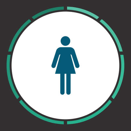gents: Woman Icon Vector. Flat simple Blue pictogram in a circle. Illustration symbol